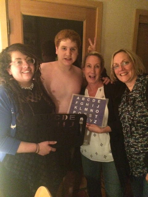 Andi, Ian, me and Rosaleen (Ian's Mom). A bunch of crazy people with letter boards!