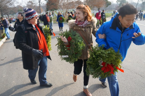 Linda, Meghann and Paul are decked out in wreaths!