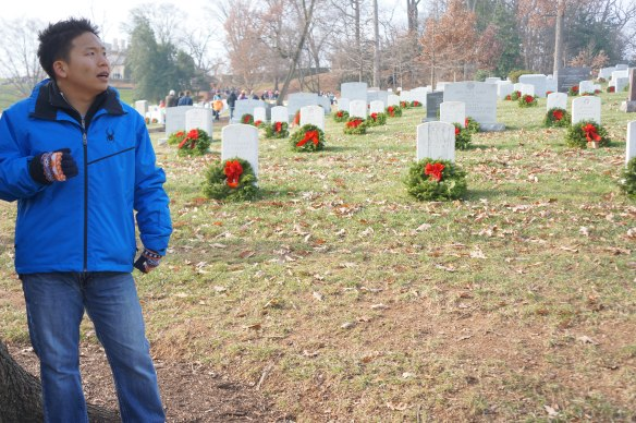 Paul views the miles of grave markers now adorned with wreaths. It is a stunning reminder of all who have served this country.